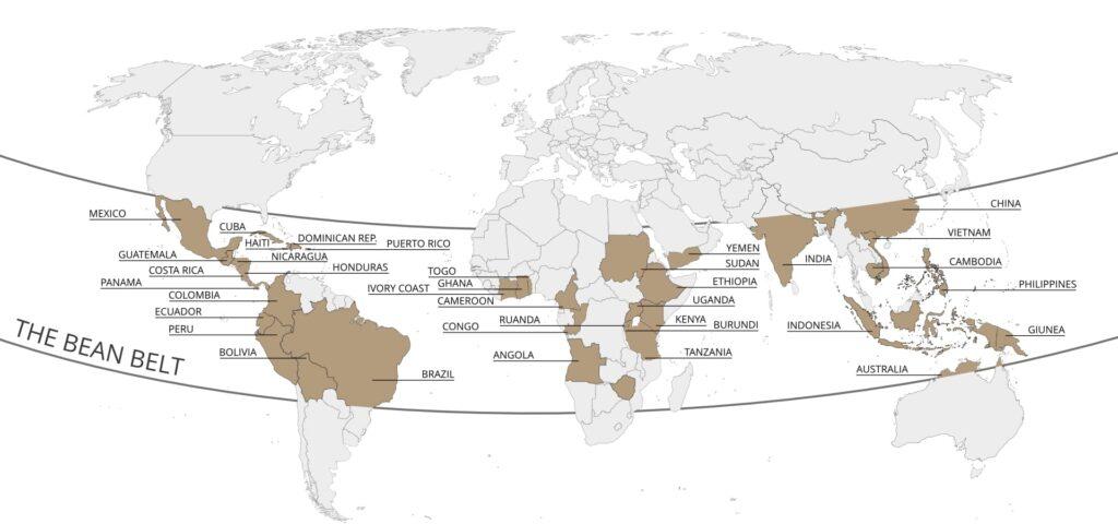 Kahve Çeşitleri ve Türleri: The Bean Belt olarak anılan Dünya Kahve Kemeri Bölgeleri